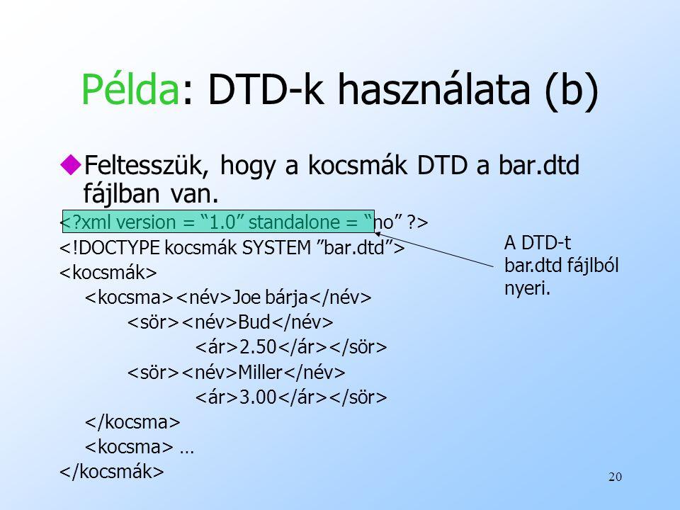 20 Példa: DTD-k használata (b) uFeltesszük, hogy a kocsmák DTD a bar.dtd fájlban van.