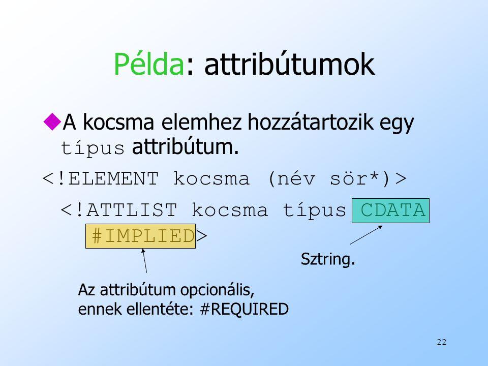22 Példa: attribútumok  A kocsma elemhez hozzátartozik egy típus attribútum.