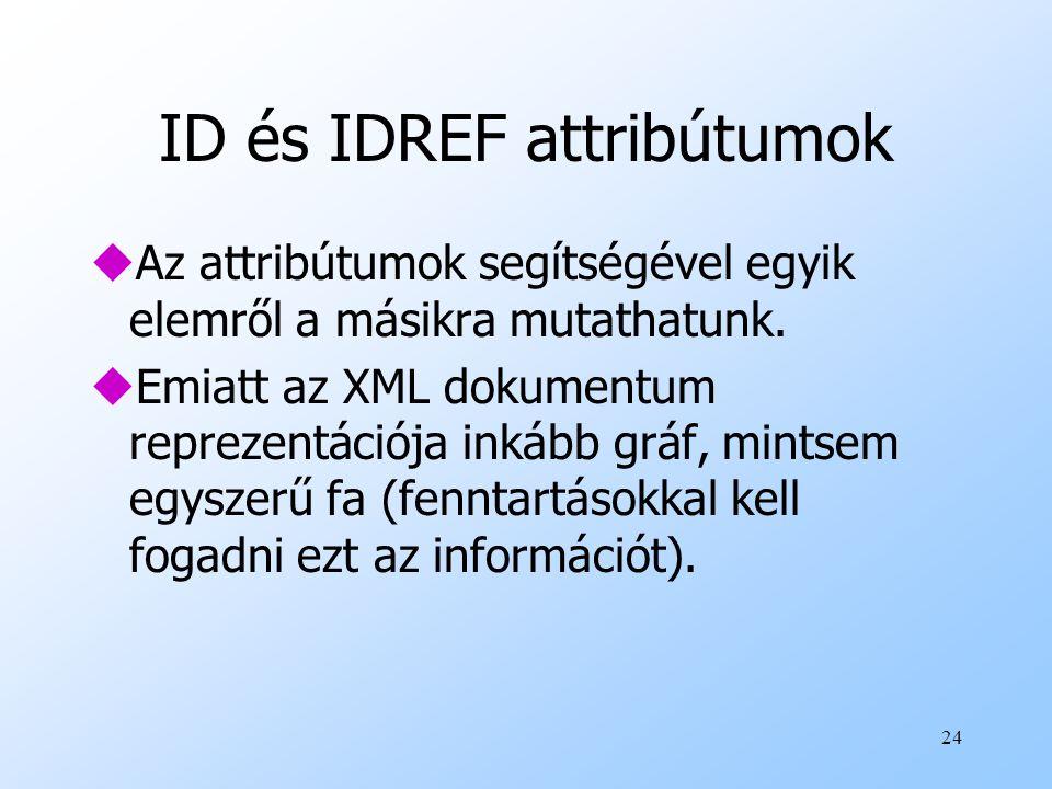 24 ID és IDREF attribútumok uAz attribútumok segítségével egyik elemről a másikra mutathatunk.