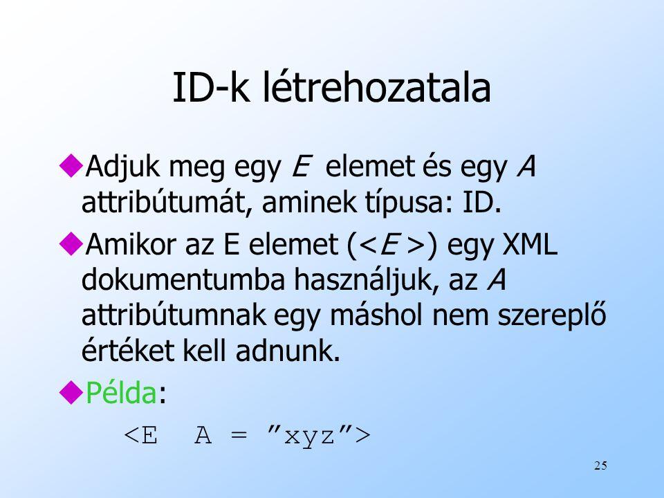 25 ID-k létrehozatala uAdjuk meg egy E elemet és egy A attribútumát, aminek típusa: ID.