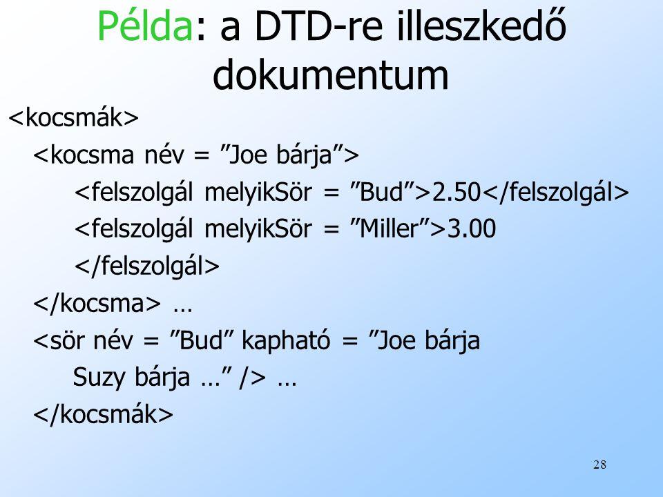 28 Példa: a DTD-re illeszkedő dokumentum 2.50 3.00 … <sör név = Bud kapható = Joe bárja Suzy bárja … /> …