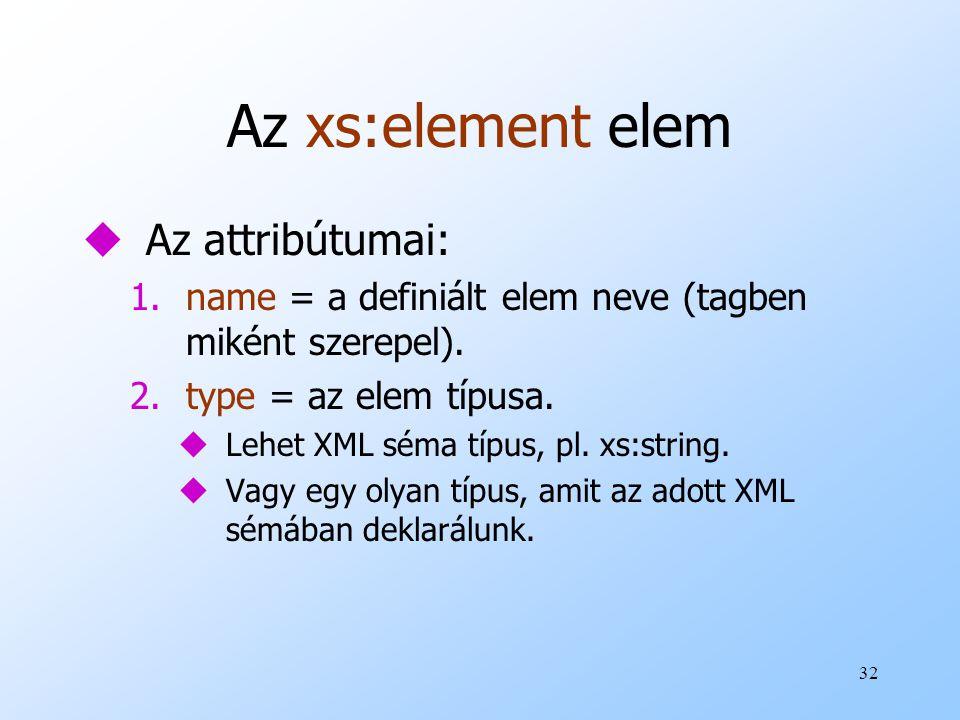 32 Az xs:element elem uAz attribútumai: 1.name = a definiált elem neve (tagben miként szerepel).