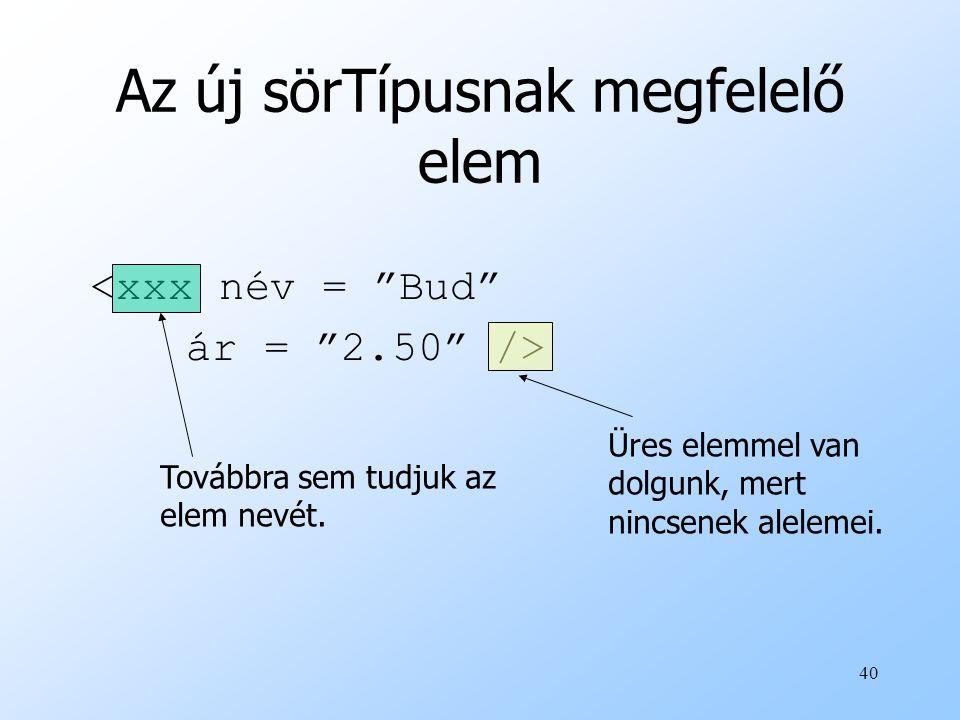 40 Az új sörTípusnak megfelelő elem <xxx név = Bud ár = 2.50 /> Továbbra sem tudjuk az elem nevét.