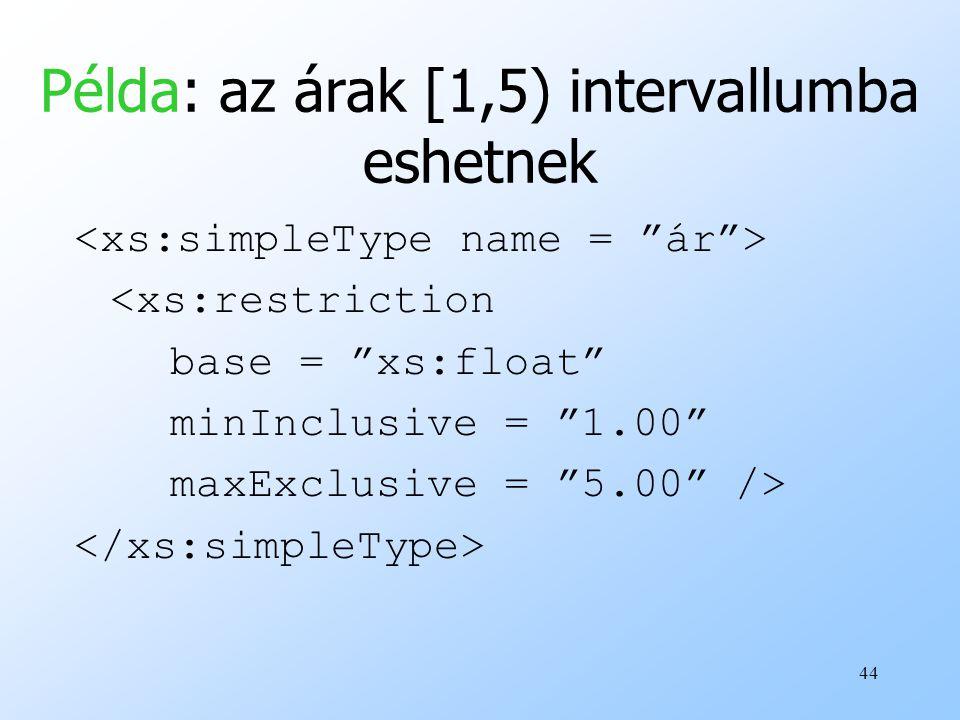 44 Példa: az árak [1,5) intervallumba eshetnek <xs:restriction base = xs:float minInclusive = 1.00 maxExclusive = 5.00 />