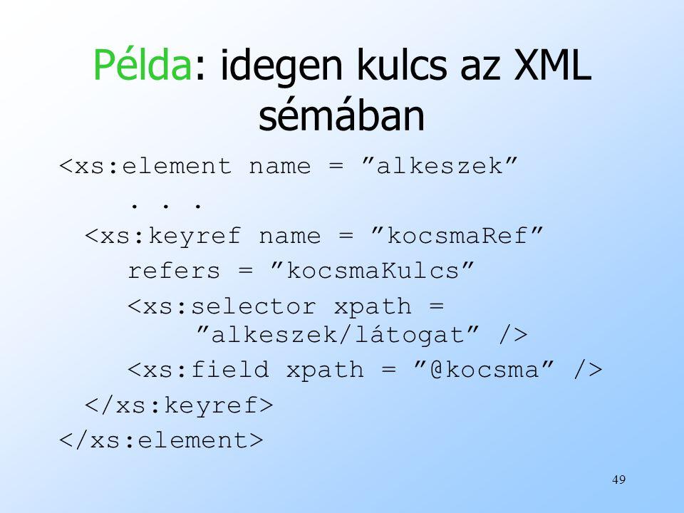 49 Példa: idegen kulcs az XML sémában <xs:element name = alkeszek ...