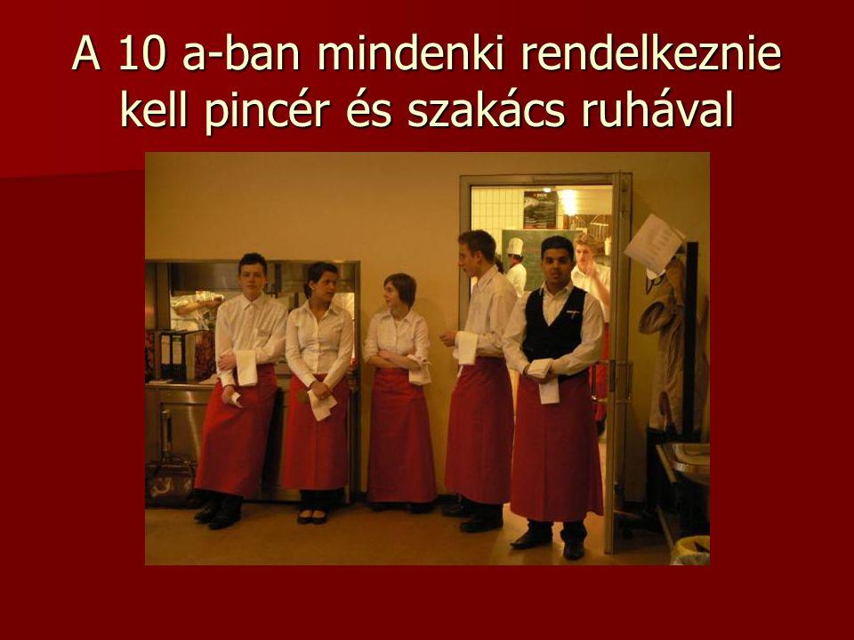 A 10 a-ban mindenki rendelkeznie kell pincér és szakács ruhával