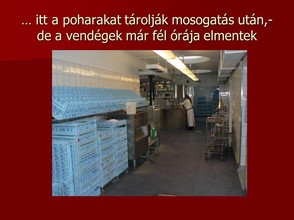 … itt a poharakat tárolják mosogatás után,- de a vendégek már fél órája elmentek