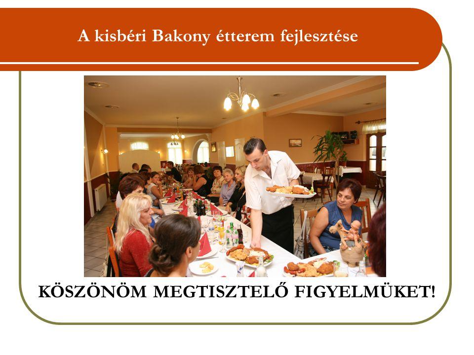 A kisbéri Bakony étterem fejlesztése KÖSZÖNÖM MEGTISZTELŐ FIGYELMÜKET!