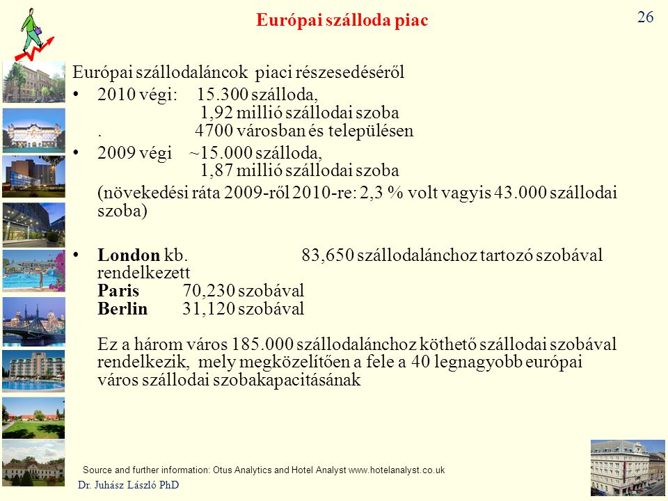 26 Európai szálloda piac Európai szállodaláncok piaci részesedéséről • 2010 végi: ~15.300 szálloda, 1,92 millió szállodai szoba. 4700 városban és tele
