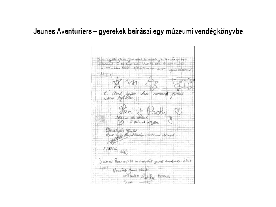 Jeunes Aventuriers – gyerekek beírásai egy múzeumi vendégkönyvbe