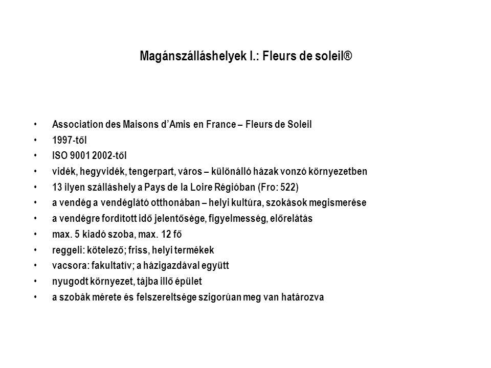 Magánszálláshelyek I.: Fleurs de soleil® • Association des Maisons d'Amis en France – Fleurs de Soleil • 1997-től • ISO 9001 2002-től • vidék, hegyvid