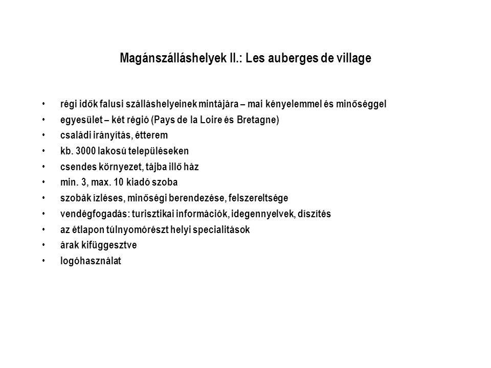 Magánszálláshelyek II.: Les auberges de village • régi idők falusi szálláshelyeinek mintájára – mai kényelemmel és minőséggel • egyesület – két régió (Pays de la Loire és Bretagne) • családi irányítás, étterem • kb.