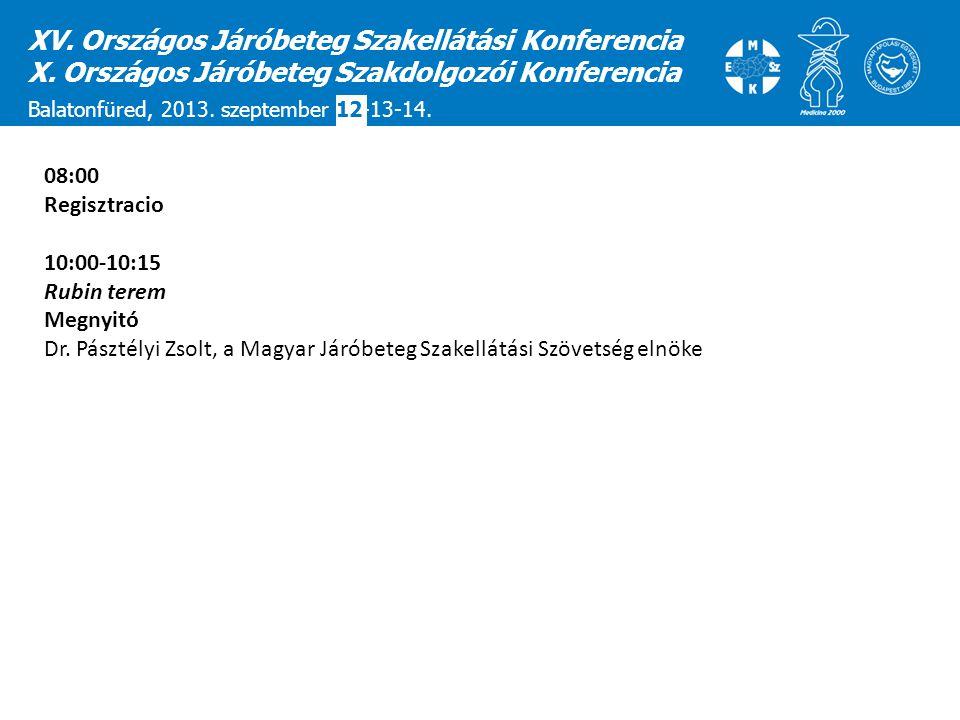 XV. Országos Járóbeteg Szakellátási Konferencia X. Országos Járóbeteg Szakdolgozói Konferencia Balatonfüred, 2013. szeptember 12-13-14. 08:00 Regisztr