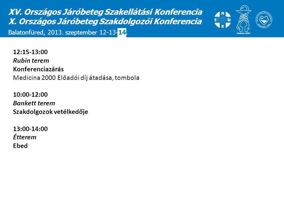 12:15-13:00 Rubin terem Konferenciazárás Medicina 2000 Előadói díj átadása, tombola 10:00-12:00 Bankett terem Szakdolgozok vetélkedője 13:00-14:00 Étt