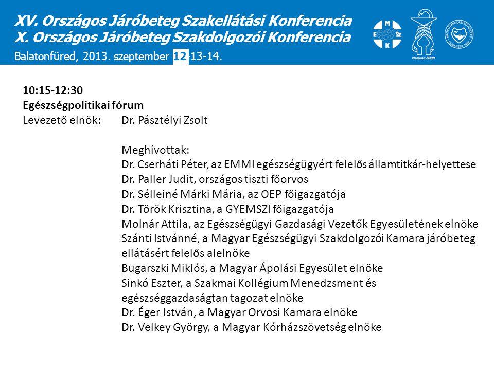 XV. Országos Járóbeteg Szakellátási Konferencia X. Országos Járóbeteg Szakdolgozói Konferencia Balatonfüred, 2013. szeptember 12-13-14. 10:15-12:30 Eg