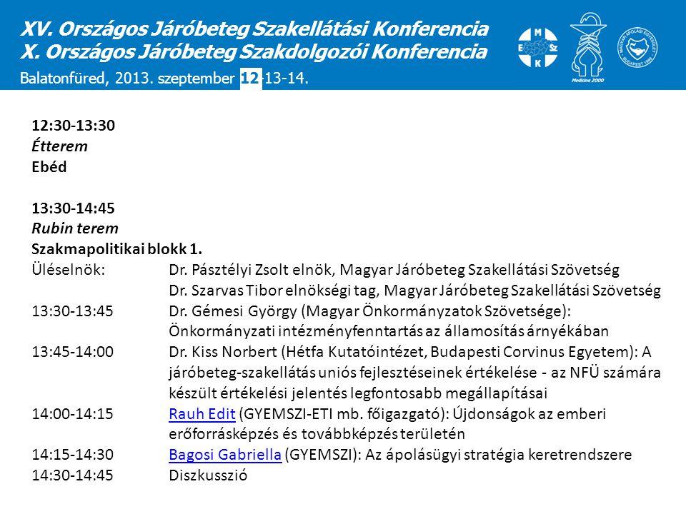 XV. Országos Járóbeteg Szakellátási Konferencia X. Országos Járóbeteg Szakdolgozói Konferencia Balatonfüred, 2013. szeptember 12-13-14. 12:30-13:30 Ét