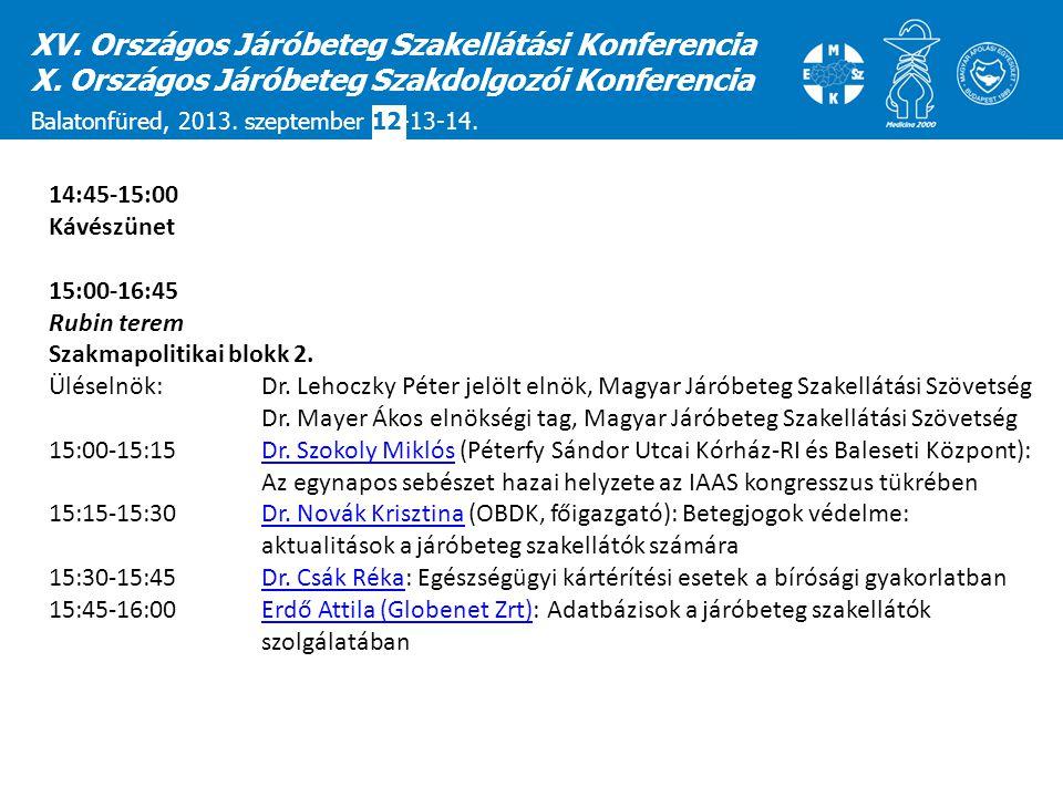 XV. Országos Járóbeteg Szakellátási Konferencia X. Országos Járóbeteg Szakdolgozói Konferencia Balatonfüred, 2013. szeptember 12-13-14. 14:45-15:00 Ká