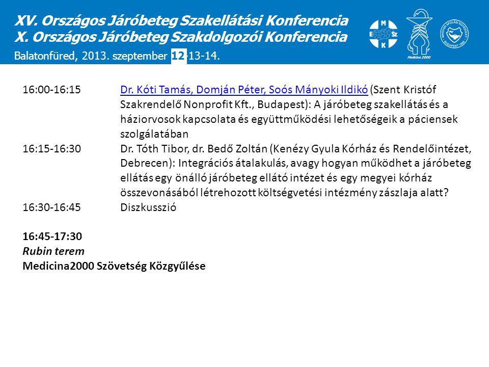XV. Országos Járóbeteg Szakellátási Konferencia X. Országos Járóbeteg Szakdolgozói Konferencia Balatonfüred, 2013. szeptember 12-13-14. 16:00-16:15 Dr