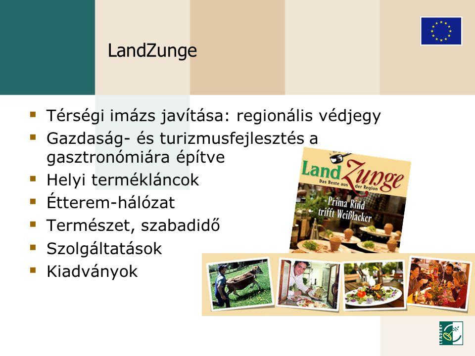 LandZunge  Térségi imázs javítása: regionális védjegy  Gazdaság- és turizmusfejlesztés a gasztronómiára építve  Helyi termékláncok  Étterem-hálóza