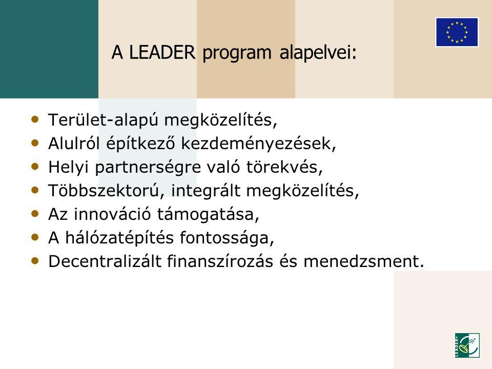 A LEADER program alapelvei: • Terület-alapú megközelítés, • Alulról építkező kezdeményezések, • Helyi partnerségre való törekvés, • Többszektorú, inte