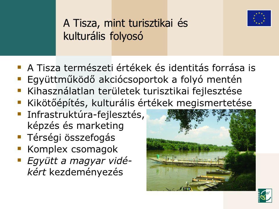 A Tisza, mint turisztikai és kulturális folyosó  A Tisza természeti értékek és identitás forrása is  Együttműködő akciócsoportok a folyó mentén  Ki