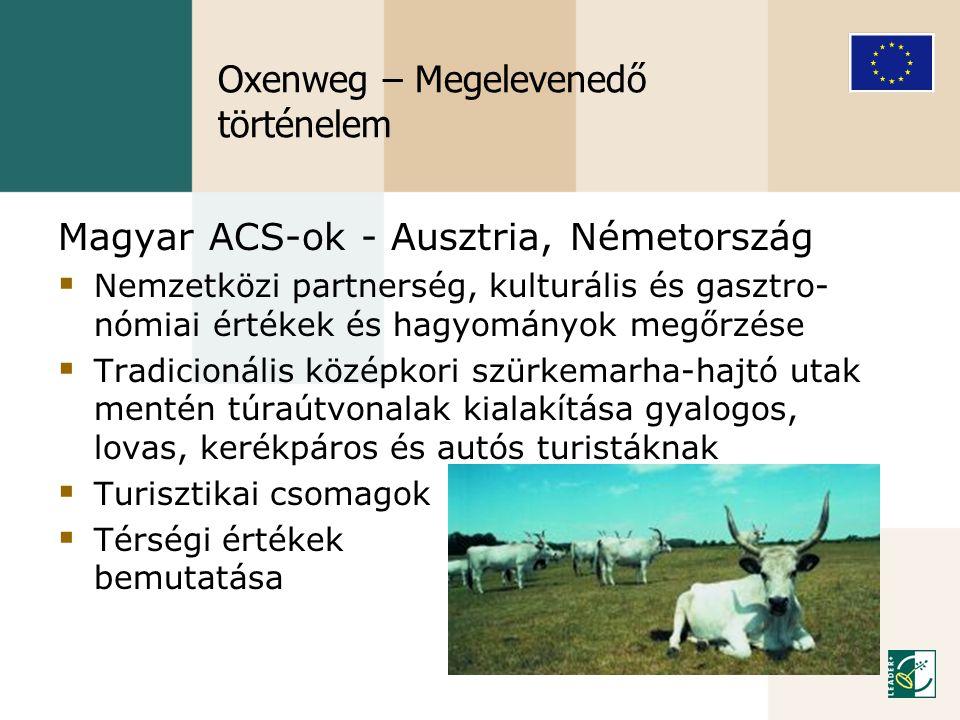 Oxenweg – Megelevenedő történelem Magyar ACS-ok - Ausztria, Németország  Nemzetközi partnerség, kulturális és gasztro- nómiai értékek és hagyományok