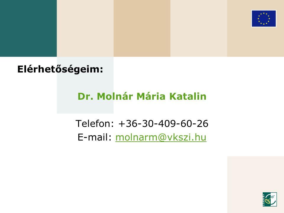 Elérhetőségeim: Dr. Molnár Mária Katalin Telefon: +36-30-409-60-26 E-mail: molnarm@vkszi.humolnarm@vkszi.hu