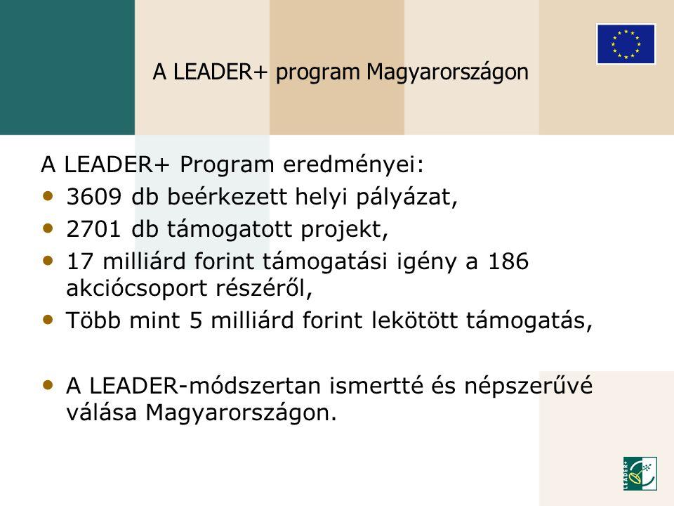 A LEADER+ Program eredményei: • 3609 db beérkezett helyi pályázat, • 2701 db támogatott projekt, • 17 milliárd forint támogatási igény a 186 akciócsop