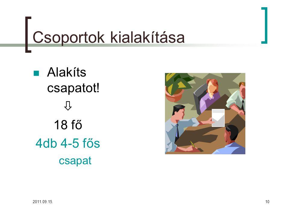 2011.09.15.10 Csoportok kialakítása  Alakíts csapatot!  18 fő 4db 4-5 fős csapat