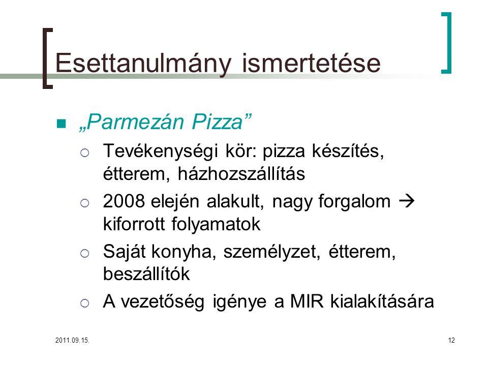 """2011.09.15.12 Esettanulmány ismertetése  """"Parmezán Pizza  Tevékenységi kör: pizza készítés, étterem, házhozszállítás  2008 elején alakult, nagy forgalom  kiforrott folyamatok  Saját konyha, személyzet, étterem, beszállítók  A vezetőség igénye a MIR kialakítására"""