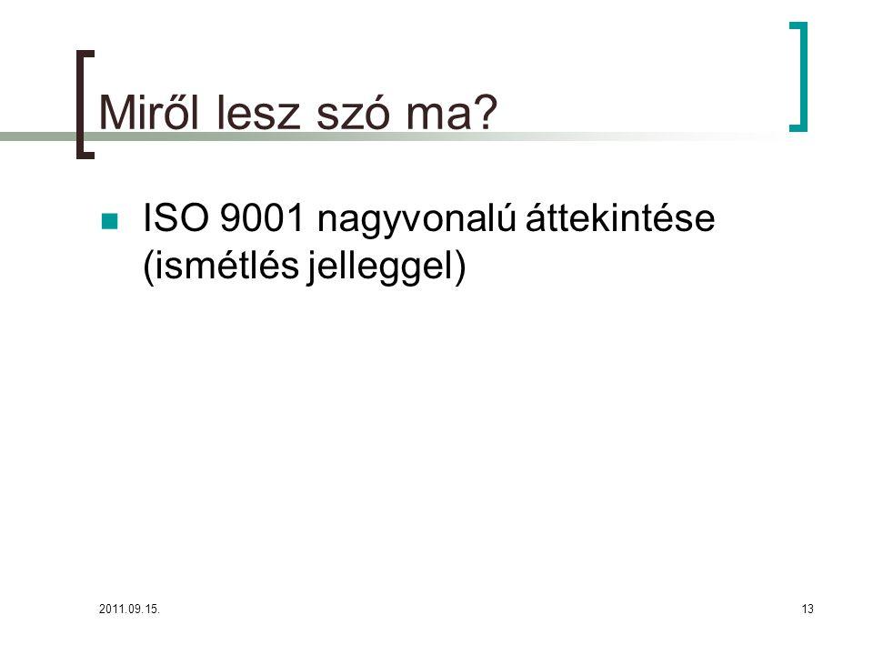 2011.09.15.13 Miről lesz szó ma?  ISO 9001 nagyvonalú áttekintése (ismétlés jelleggel)