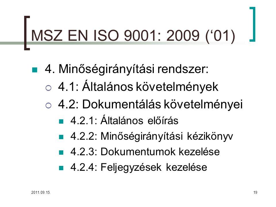 2011.09.15.19 MSZ EN ISO 9001: 2009 ('01)  4.