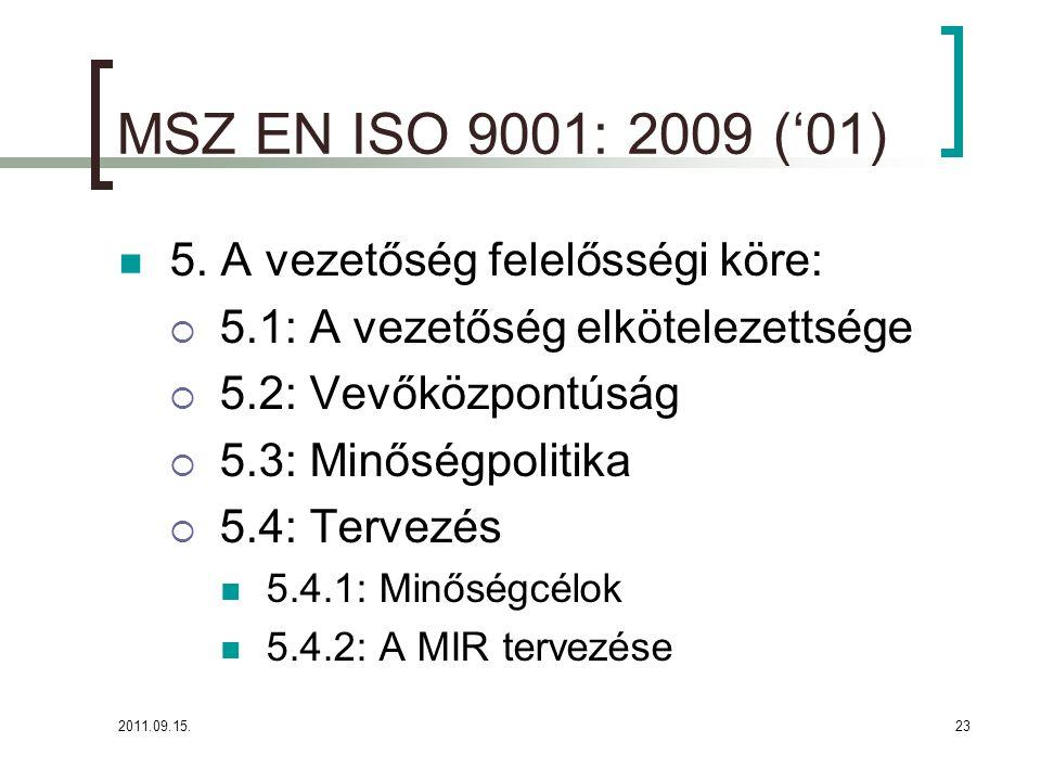 2011.09.15.23 MSZ EN ISO 9001: 2009 ('01)  5.