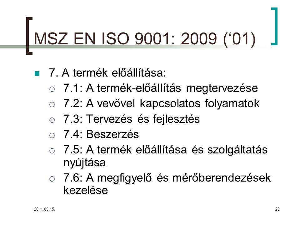2011.09.15.29 MSZ EN ISO 9001: 2009 ('01)  7.