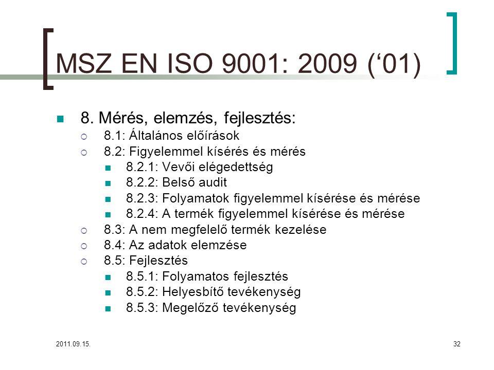 2011.09.15.32 MSZ EN ISO 9001: 2009 ('01)  8.
