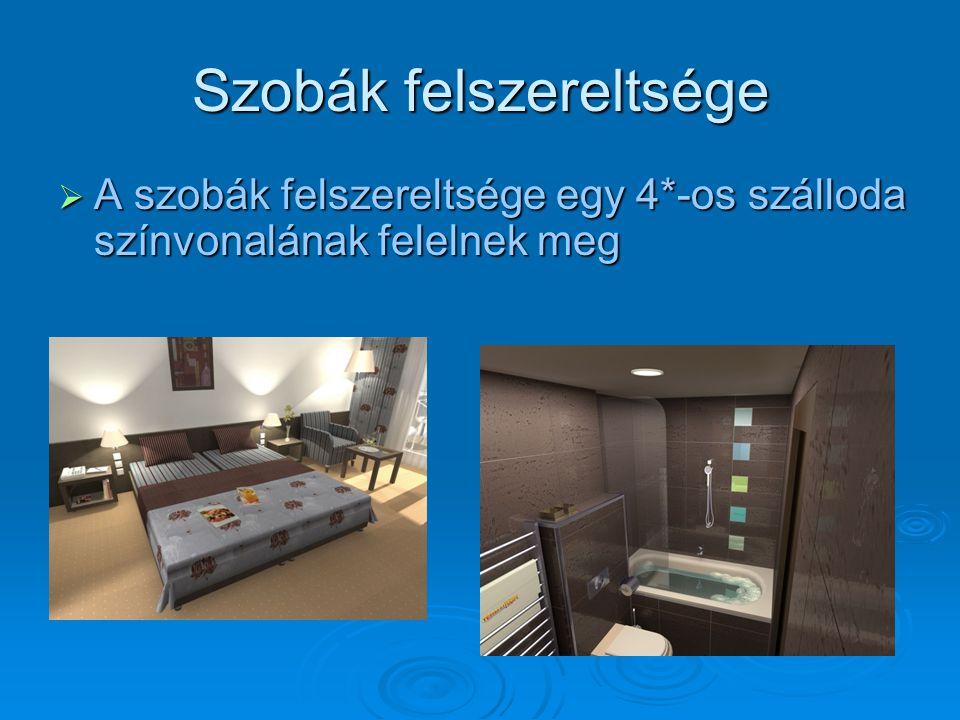 Szobák felszereltsége  A szobák felszereltsége egy 4*-os szálloda színvonalának felelnek meg