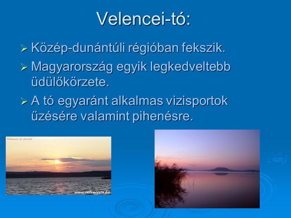 Velencei-tó:  Közép-dunántúli régióban fekszik.  Magyarország egyik legkedveltebb üdülőkörzete.  A tó egyaránt alkalmas vizisportok űzésére valamin