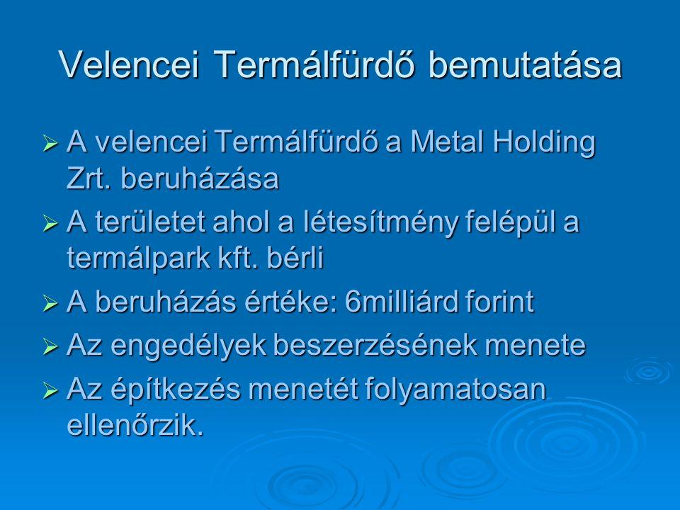 Velencei Termálfürdő bemutatása  A velencei Termálfürdő a Metal Holding Zrt. beruházása  A területet ahol a létesítmény felépül a termálpark kft. bé