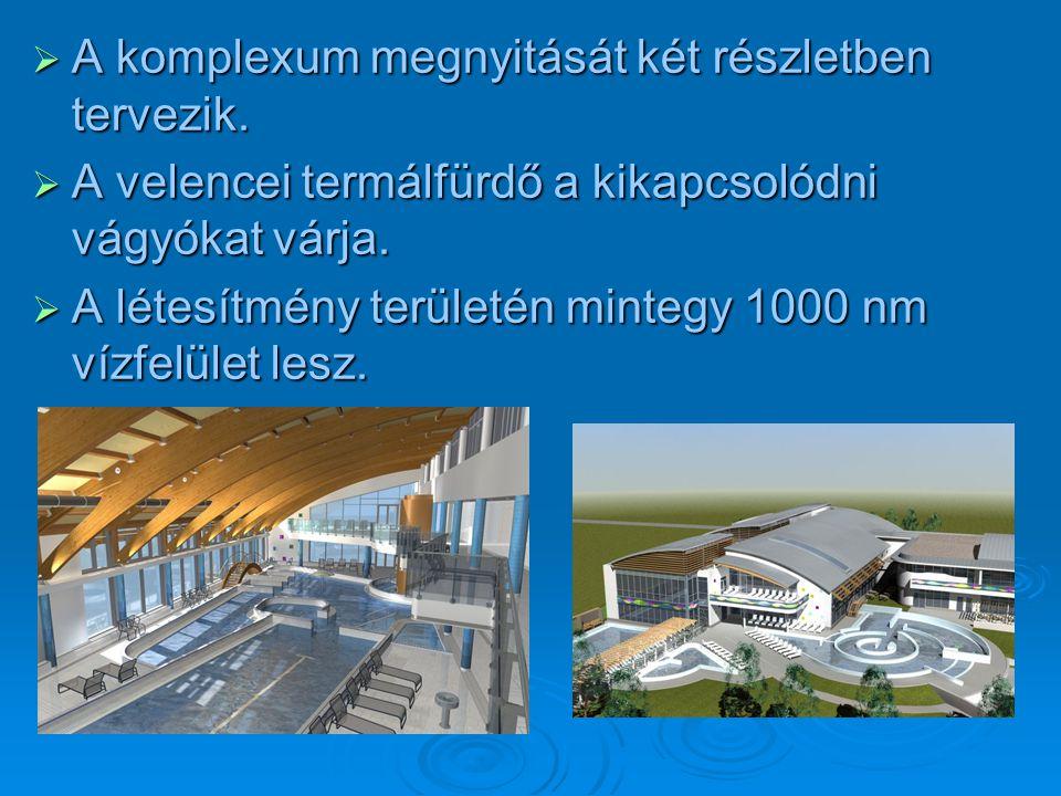  A komplexum megnyitását két részletben tervezik.  A velencei termálfürdő a kikapcsolódni vágyókat várja.  A létesítmény területén mintegy 1000 nm