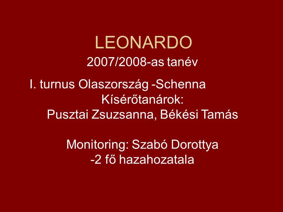 LEONARDO 2007/2008-as tanév I. turnus Olaszország -Schenna Kísérőtanárok: Pusztai Zsuzsanna, Békési Tamás Monitoring: Szabó Dorottya -2 fő hazahozatal
