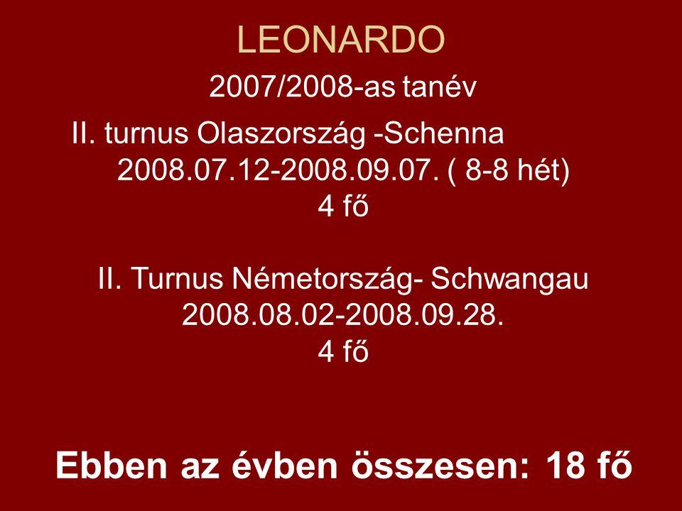 LEONARDO 2007/2008-as tanév II. turnus Olaszország -Schenna 2008.07.12-2008.09.07. ( 8-8 hét) 4 fő II. Turnus Németország- Schwangau 2008.08.02-2008.0