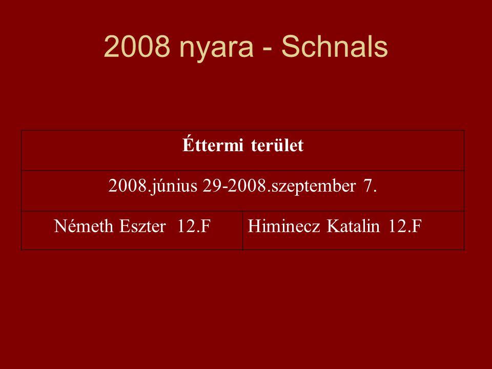 2008 nyara - Schnals Éttermi terület 2008.június 29-2008.szeptember 7. Németh Eszter 12.FHiminecz Katalin 12.F