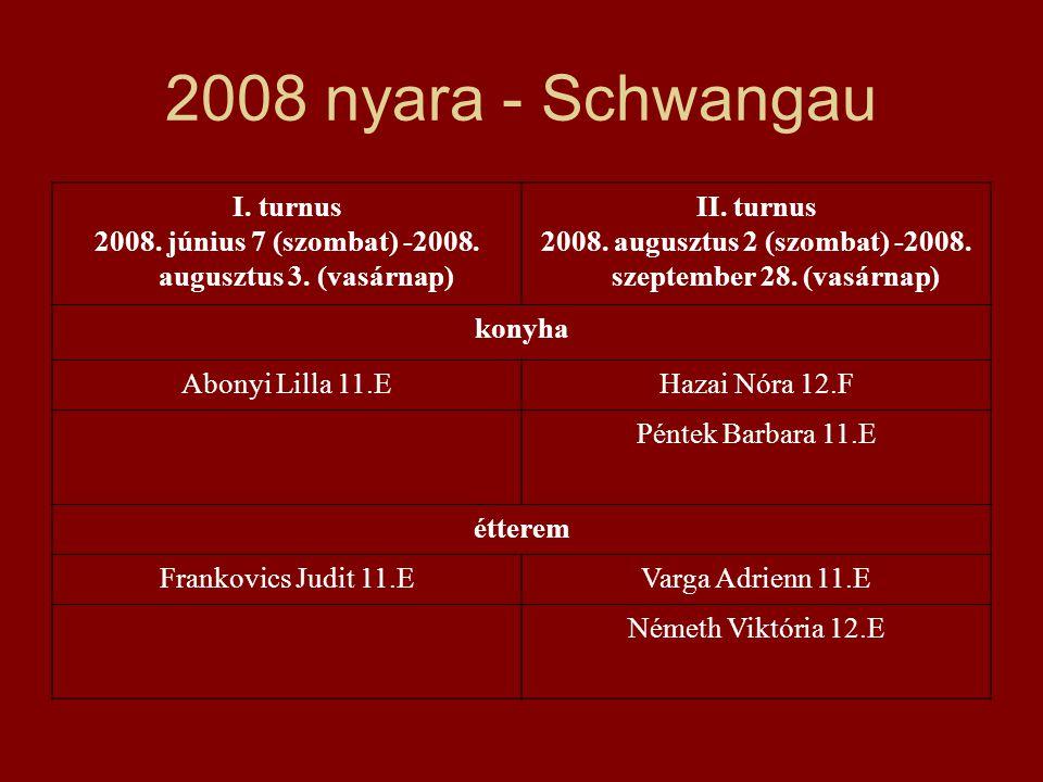 2008 nyara - Schwangau I. turnus 2008. június 7 (szombat) -2008. augusztus 3. (vasárnap) II. turnus 2008. augusztus 2 (szombat) -2008. szeptember 28.