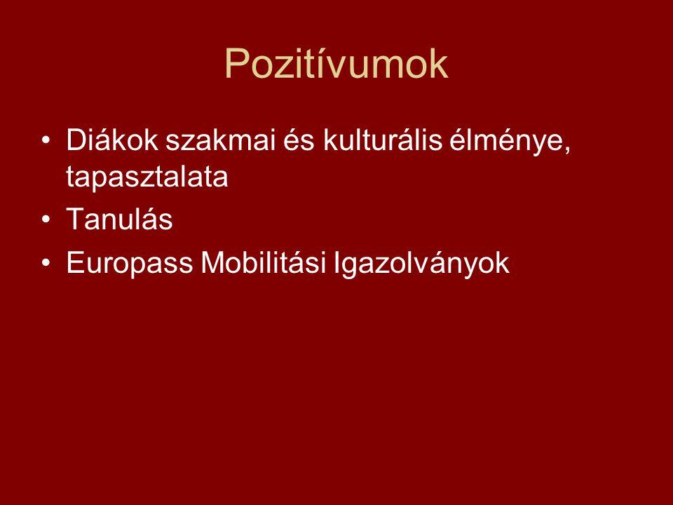 Pozitívumok •Diákok szakmai és kulturális élménye, tapasztalata •Tanulás •Europass Mobilitási Igazolványok