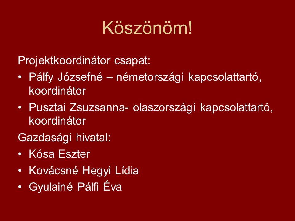 Köszönöm! Projektkoordinátor csapat: •Pálfy Józsefné – németországi kapcsolattartó, koordinátor •Pusztai Zsuzsanna- olaszországi kapcsolattartó, koord