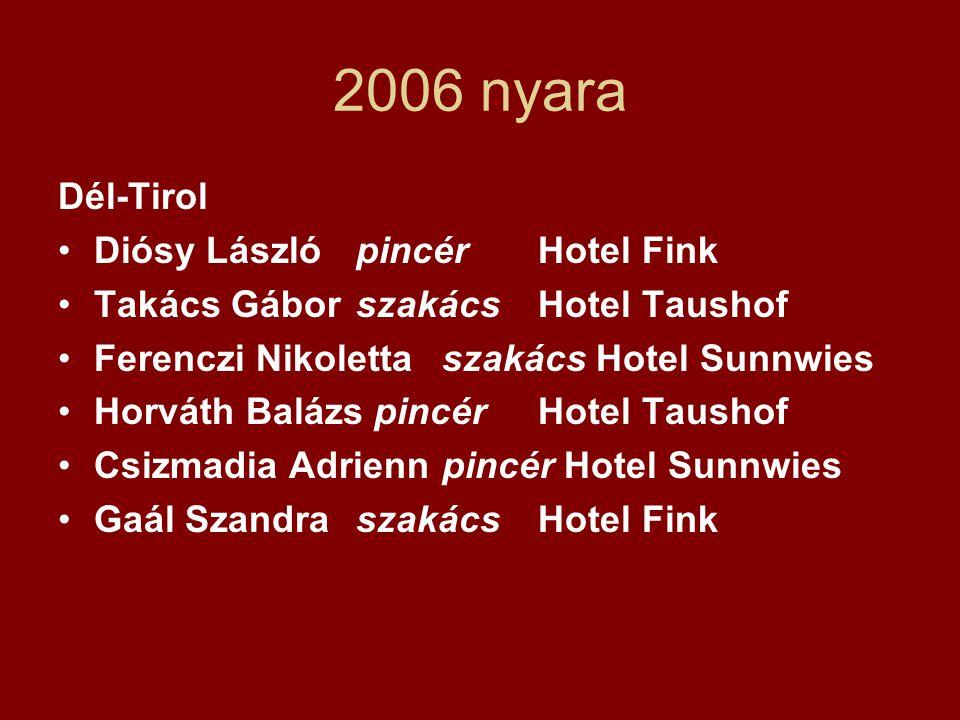 2006 nyara Dél-Tirol •Diósy László pincérHotel Fink •Takács Gábor szakácsHotel Taushof •Ferenczi Nikolettaszakács Hotel Sunnwies •Horváth Balázs pincé
