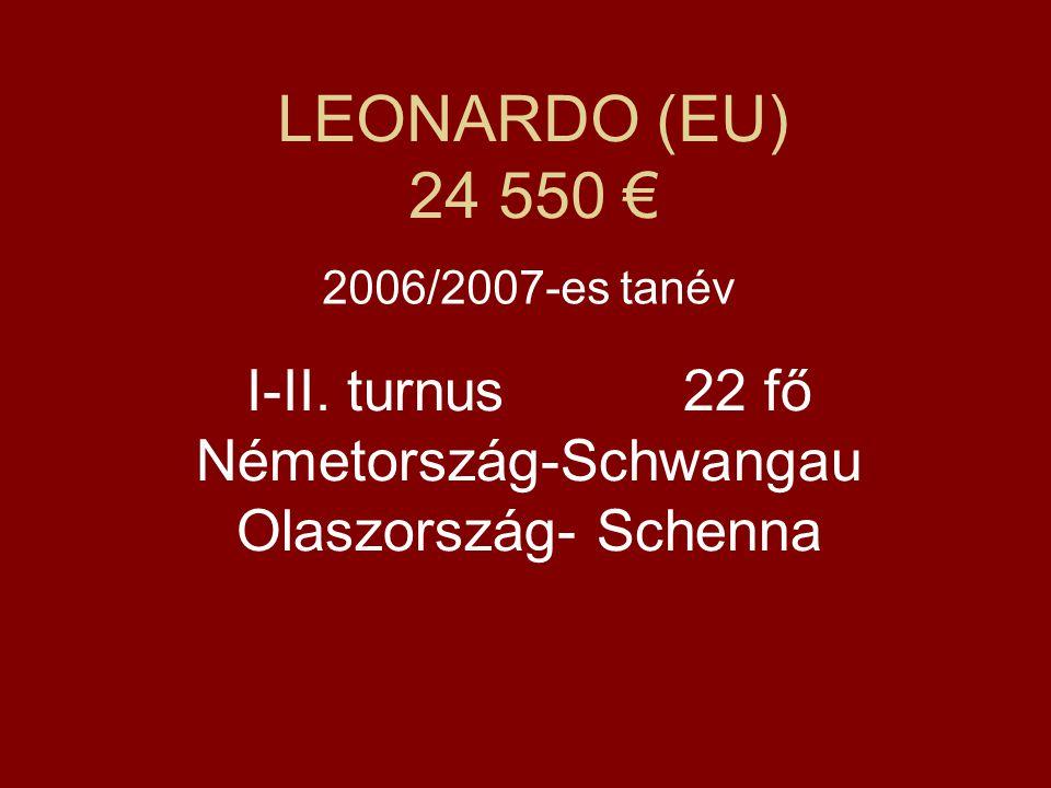 LEONARDO (EU) 24 550 € 2006/2007-es tanév I-II. turnus 22 fő Németország-Schwangau Olaszország- Schenna