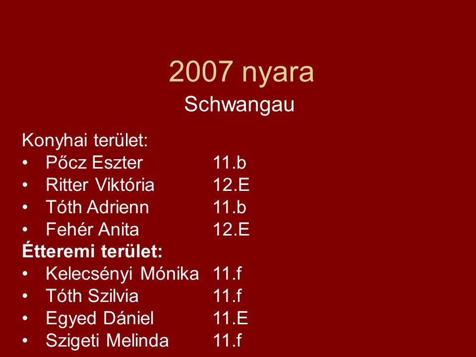 2007 nyara Schwangau Konyhai terület: •Pőcz Eszter 11.b •Ritter Viktória 12.E •Tóth Adrienn 11.b •Fehér Anita 12.E Étteremi terület: •Kelecsényi Mónik