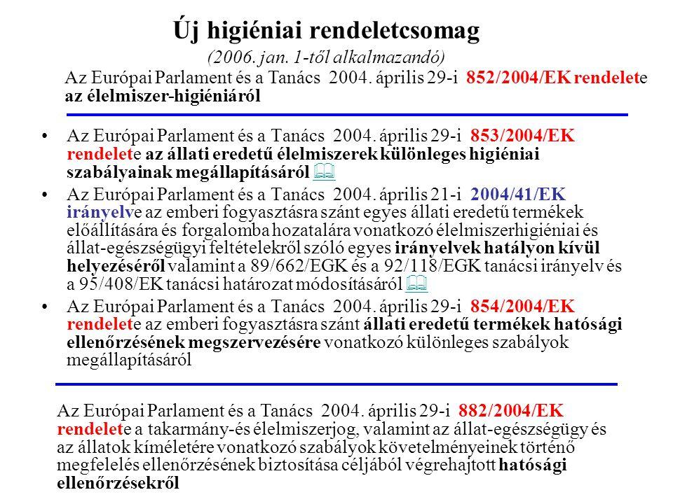 178/2002/EK rendelet 2005. január 1-től 852/2004/EK rendelet 93/43/EGK helyett 2006. január 1-től 882/2004/EK rendelet H1 Általános élelmiszerhigiénia