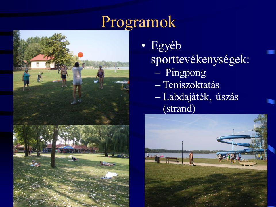 Programok •Egyéb sporttevékenységek: – Pingpong –Teniszoktatás –Labdajáték, úszás (strand)